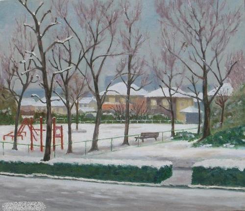 公園の初雪 (F10号)