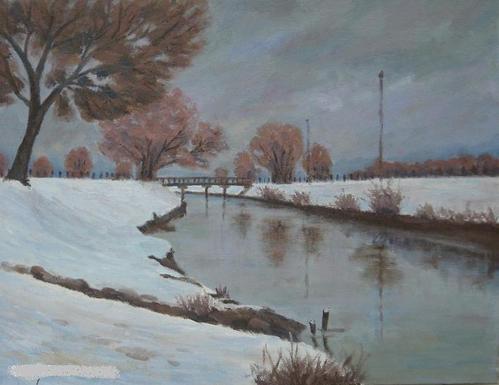 見沼雪景 (F6号)