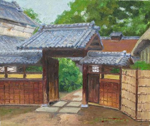 門のある旧家 (F8号)