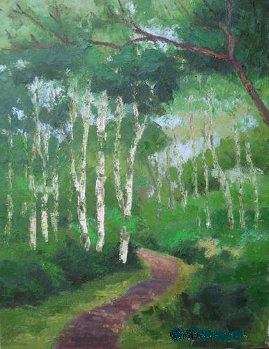 白樺林の小径 (F6号)